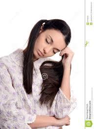 woman sleeping beautiful in pajamas falling asleep stock