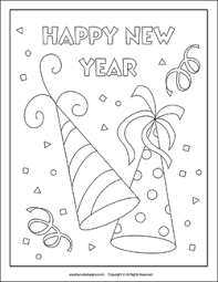 Party Hats Coloring Page New Years Eve Pagesnew Sheets