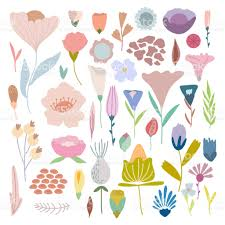 Pack Of Hand Drawn Simple Pastel Vector Flowers And Plants Royalty Free