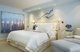 Superb Coral Throw Pillows In Bedroom Transitional With Bulkhead Next To Basement Alongside Light Blue Walls And Master Ideas