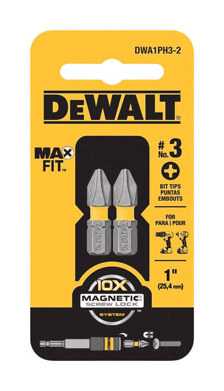 "Dewalt Maxfit PH3 Bit Tip - 1"", 2ct"