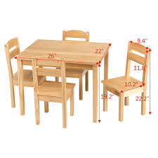 Shop Gymax Children Play Table Chair 5PCS Set Pine Wood Kids Table ...