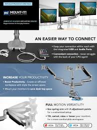 Dell Monitor Arm Desk Mount by Amazon Com Mount It Triple Monitor Mount With Usb Port Height
