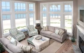 Classic And Fabulous Coastal Living Room With Beige Sofas And