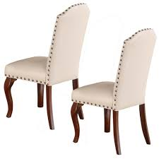 Commendable Rubber Wood Faux Leather Dining Chair, Cream (Set Of 2) By  Benzara Cream Faux Leather Ding Chair With Curved Leg Crossley Single Adela Maple And Lpd Padstow Chairs Pair Brown Or Red Faux Leather Ding Chairs Antique Vintage Button Stud Detail Pack Of 2 Table Seat Set Bolero Tan Mark Harris California Simpli Home Cosmopolitan 9piece 8
