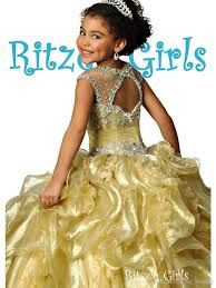 princess gold girls pageant dresses illusion neck cap sleeves