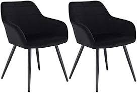 woltu esszimmerstühle bh93sz 2 2er set küchenstuhl polsterstuhl wohnzimmerstuhl sessel mit armlehne sitzfläche aus samt metallbeine schwarz