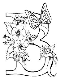 Flower Coloring Page And Butterfly Pages
