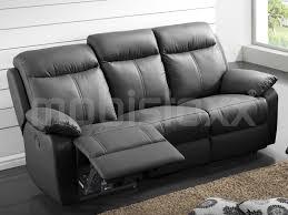 canapé 3 places relax electrique canapé relax électrique 3 places cuir noir chez mobistoxx