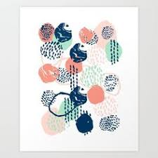 Abstract Coral Mint Navy Modern Color Palette Basic Canvas Art For Home Print
