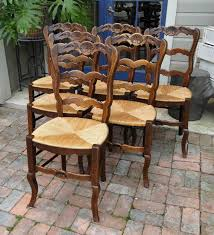 Antique French Dining Chairs Rush Seats Carved Tall Ladder Back ... Guy Chaddock Melrose Custom Handmade Fniture Cf0485s Country French Ding Chairs With Ladder Back And Rush Seats Antique Farm Carved Tall Seat Room Set Of 6 Provincial In Walnut 10 Louis Xv Style Oak Leather Nailhead Recliner Chair Vintage White Of Four Six Xiv Ladderback Scalloped Stretchers Inspire Q Eleanor Wood 2 By Dec 16 2018