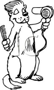and White Gopher Blowdrying Its Hair Royalty Free Clipart Picture