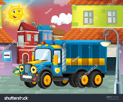Happy Funny Cartoon Police Truck Looking Stock Illustration ...