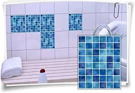 fliesen aufkleber fliesen bild fliesen imitat mosaik blau bad wc deko dekor badezimmer kachel folie digitaldruck 12 stück 20x25cm