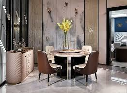 esszimmer lehn stuhl polster rund wohnzimmer schwarz silber