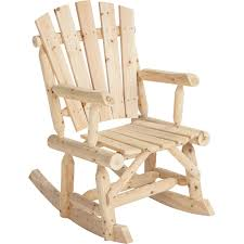 Outdoor Log Adirondack Rocker / Rocking Chair - Natural Wood