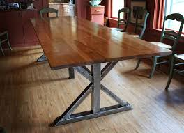 Birch And Steel Trestle Dining Table By Keven Higgins
