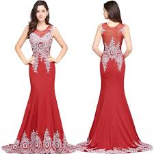 2017 new arrival red long evening dresses beaded appliques
