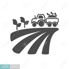 100 Seedling Truck Tractor On Field Harvest Seedling Flat Icon Agriculture Sign