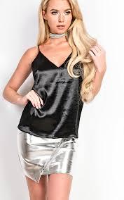 women u0027s ladies gorgeous glam strappy shiny satin cami top ebay