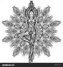 Pretty Girl In Vrikshasana Tree Yoga Pose Over Ornate Round Mandala Pattern Design PostersMandala DesignColoring Book