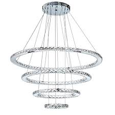 MEEROSEE Crystal Chandeliers Modern LED Ceiling Lights Fixtures Pendant Lighting Dining Room Chandelier Contemporary Adjustable Stainless