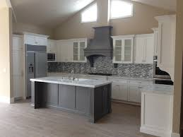 Shaker white kitchen fluted grey island Beach Style Kitchen