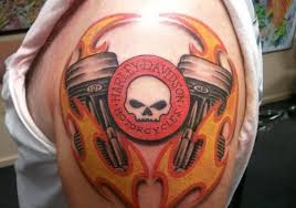 Harley Davidson Theme Tattoo Fire Up