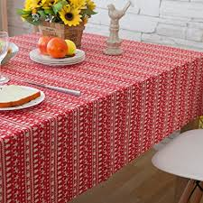 LI LU SHOP Pastoral Striped Christmas Tree Cotton And Linen Tablecloth Red Deer Cover
