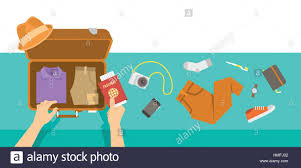 Packing Bag For Traveling Travel Vacation Vector Flat Illustration Tourist Man Puts In Suitcase Clothes Shoes Hat Phone Notebook Camera And Pas