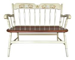 Ethan Allen Hitchcock Style Arrow Back Ivory Decons Bench