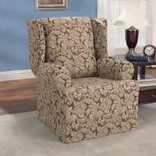 Sure Fit Sofa Covers Ebay by Scroll Classic Wingback Chair Skirted Slipcover Brown Color Fits T