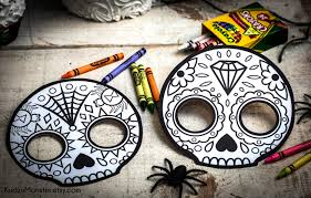 Easy Sugar Skull Day Of by Halloween Printable Coloring Mask For Kids Cute Skull Day Of