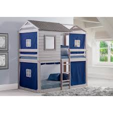 100 Loft Style Home Shop Donco Kids Light Grey Twin Over Twin Bunk Bed On
