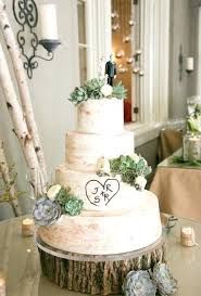 Rustic Wedding Cakes A Four Tiered Cake Adorned With Green Succulents And Tree
