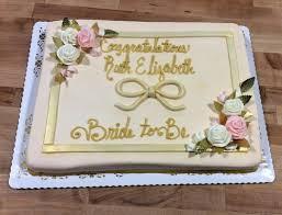 Gold And Blush Bridal Shower Sheet Cake