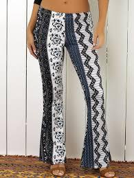 Elastic Waist Tribal Rhombus Print Flare Pants