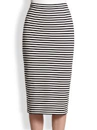 tibi striped stretch knit pencil skirt in black lyst