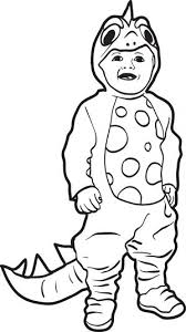 Free Printable Halloween Coloring Page Of A Boy In Dinosaur Costume
