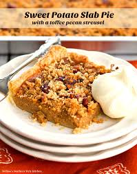 Pumpkin Pie With Pecan Streusel Topping by Sweet Potato Slab Pie With A Toffee Pecan Streusel