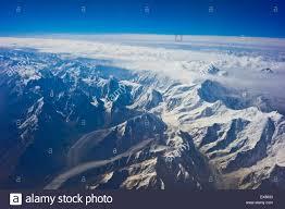 mountain ranges of himalayas himalayas aerial view of himalayan mountain range stock photo