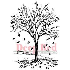 4x deep red rubber stamp fall leaves autumn tree picket fence 4x