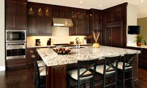 This Design Idea For A Modern Kitchen Is Also Very Inspiring Dark Cherry Brown Colour Cabinets Has Been Installed With White Granite Table Surface