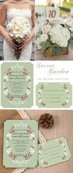 Chic Vintage Floral Country Rustic Ticket Shape Garden Wedding Invites EWIR258