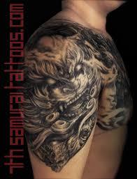 Mens Asian Fudog Terracotta Warriors Chest Upper Arm Shoulder Tattoo 2