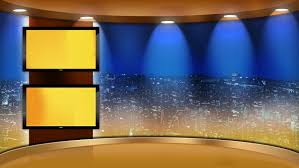 Virtual Studio Set Background With Main Monitor And