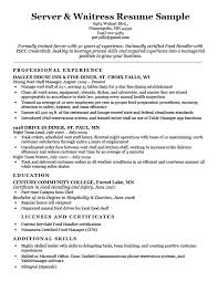 Resume Examples For Waitress Server Sample Download Job