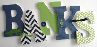 Navy Blue & Green Custom Wooden Letters Personalized Nursery