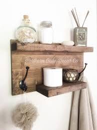 Rustic Bathroom Shelf Wood Towel Rack Entryway