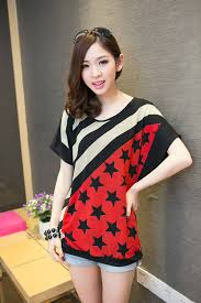 2014 Korea Girl Twill Patterns With Stars Short Sleeve Slim MD Long T Shirts